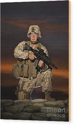 Portrait Of A U.s. Marine In Uniform Wood Print by Terry Moore