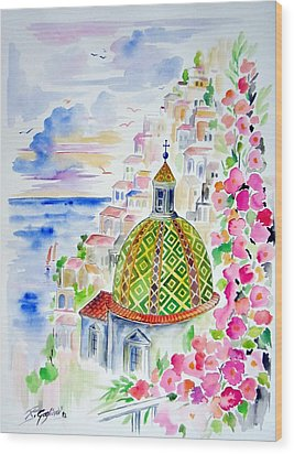 Positano In Acquarello Wood Print