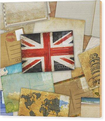 Postcard And Old Papers Wood Print by Setsiri Silapasuwanchai