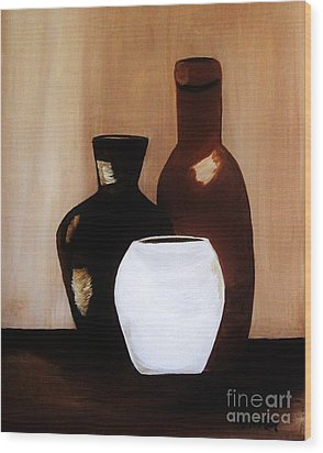 Pottery From Portugal  Wood Print by Marsha Heiken