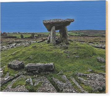 Wood Print featuring the photograph Poulnabrone Dolmen by David Gleeson