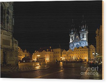 Prague City Square Wood Print