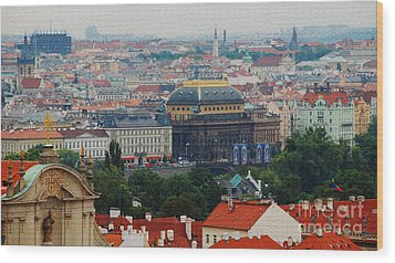 Prague Skyline Wood Print by Pravine Chester