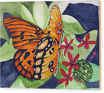 Wood Print featuring the painting Precocious Butterfly by Debi Singer