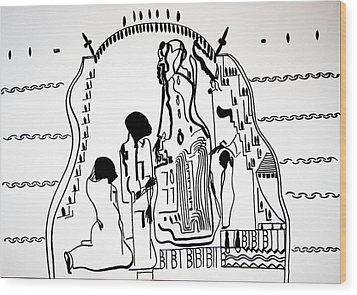 Wood Print featuring the drawing Presentation Of Jesus In The Temple by Gloria Ssali