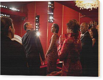President And Michelle Obama Attend Wood Print by Everett