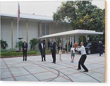 President Barack Obama Shoots Hoops Wood Print by Everett