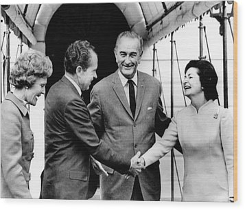 President Lyndon And Lady Bird Johnson Wood Print by Everett