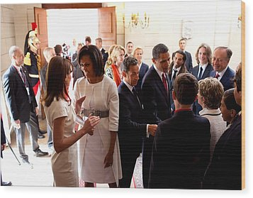 President Obama And French President Wood Print by Everett