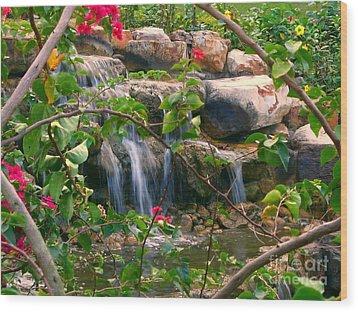 Pretty Garden View Wood Print by Yali Shi