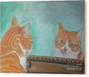 Pretty Kitty Wood Print by Teresa Vecere