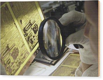 Printed Circuit Board Production Wood Print by Ria Novosti