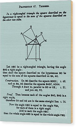 Pythagorean Theorem In English Wood Print by Science Source