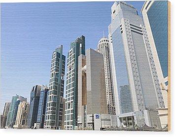 Qatars Financial Front Line Wood Print by Paul Cowan