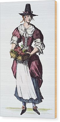 Quaker Woman 17th Century Wood Print by Granger