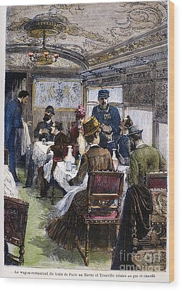 Railroad: Dining Car, 1880 Wood Print by Granger