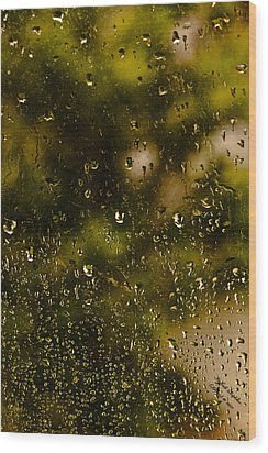 Wood Print featuring the photograph Rain Drops On My Window by Itzhak Richter