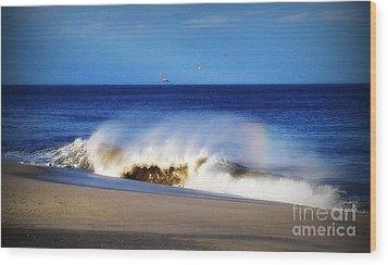 Rainbow Blue Wood Print by Gladys Steele