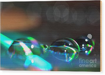 Wood Print featuring the photograph Rainbow Drops by Sylvie Leandre