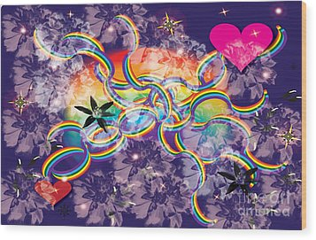 Wood Print featuring the digital art Rainbow Space by Kim Prowse