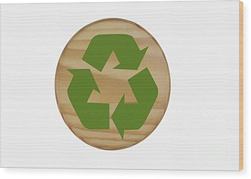 Recycling Symbol On Wood Wood Print by Blink Images