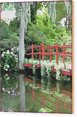 Red Bridge Wood Print by Mindy Newman