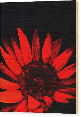 Wood Print featuring the painting Red Flower by Monica Furlow
