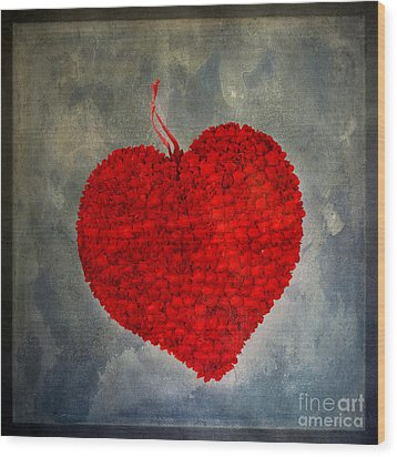 Red Heart Wood Print by Bernard Jaubert