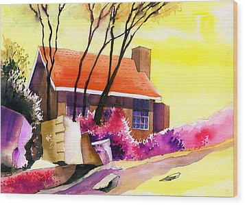 Red House Wood Print by Anil Nene