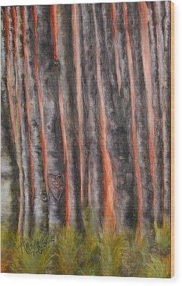 Wood Print featuring the painting Red Moon Night by Annamarie Sidella-Felts