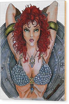 Red Sonja Wood Print by Bill Richards