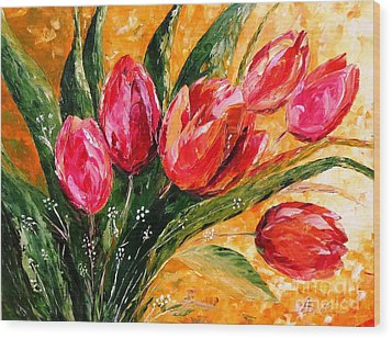 Red Tulips Wood Print by AmaS Art