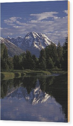 Reflection Of The Teton Mountans Wood Print by Richard Nowitz