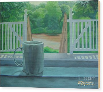Wood Print featuring the painting Relaxing By Cooper River by Diana Riukas