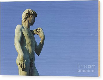 Replica Of Michelangelos David In The Piazza Michelangelo Wood Print by Jeremy Woodhouse