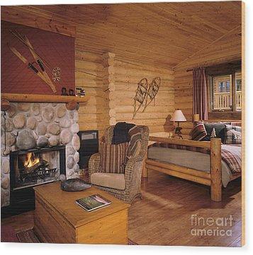 Resort Log Cabin Interior Wood Print by Robert Pisano