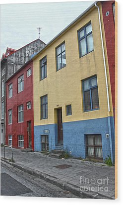 Reykjavik Iceland - Colorful House Wood Print by Gregory Dyer