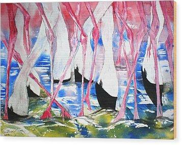 Rift Valley Flamingo Feeding Wood Print