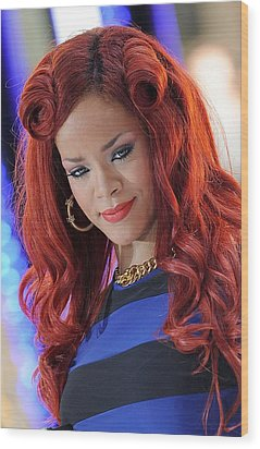 Rihanna At Talk Show Appearance For Nbc Wood Print by Everett