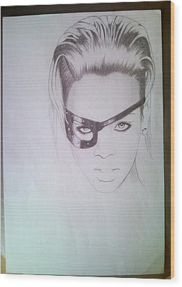 Rihanna Wood Print by Lucia Vratiakova