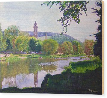 Wood Print featuring the painting River Walk Reflections Peebles by Richard James Digance