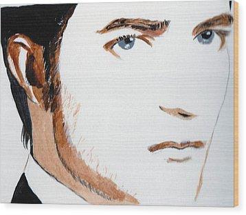 Robert Pattinson 3 Wood Print by Audrey Pollitt