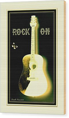 Rock On Guitar Wood Print by Danielle  Parent