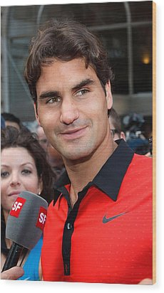 Roger Federer At A Public Appearance Wood Print by Everett