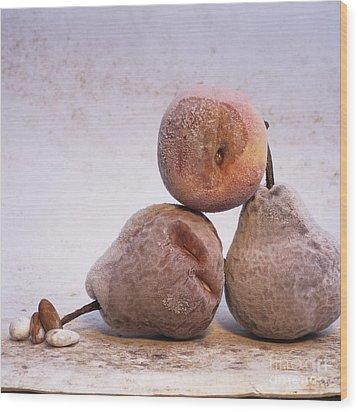 Rotten Pears And Apple. Wood Print by Bernard Jaubert