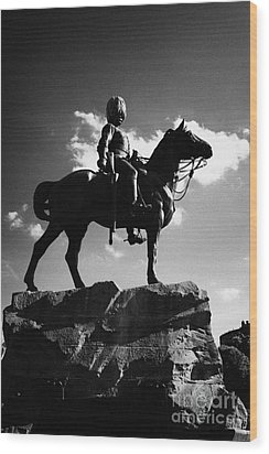Royal Scots Greys Boer War Monument In Princes Street Gardens Edinburgh Scotland Uk United Kingdom Wood Print by Joe Fox