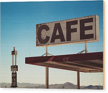 Roy's Cafe Wood Print by Aurica Voss