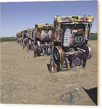 Wood Print featuring the photograph Rt 66 Cadillac Ranch by Paul Plaine