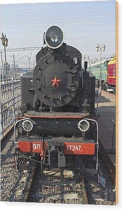 Russian Steam Locomotive 9p-17347 Wood Print by Igor Sinitsyn