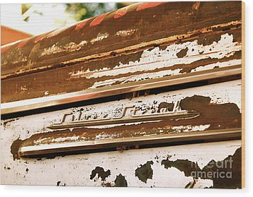 Rusted Antique Chevrolet Car Brand Ornament Wood Print by ELITE IMAGE photography By Chad McDermott
